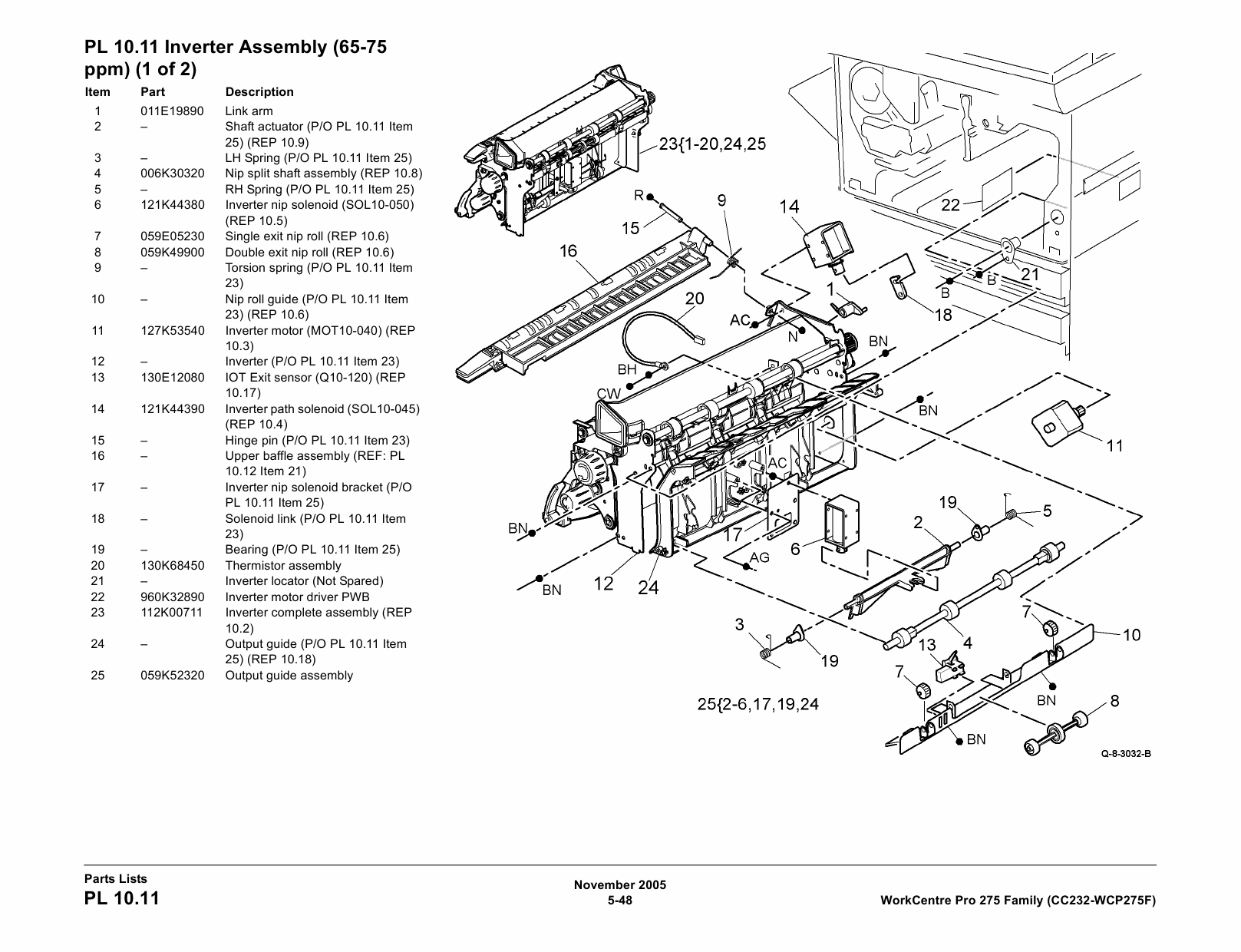 Xerox WorkCentre Pro-275 275F CopyCentre-232 Parts List
